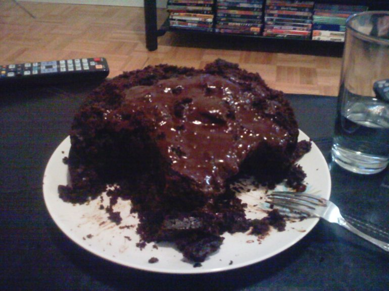 The chocolate cake / It ain't pretty but it sure tasted good.