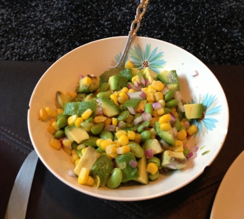 Edamame, corn and avocado salad