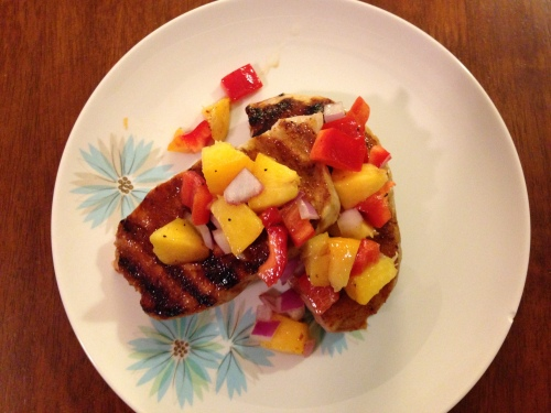 BBQ Pork Chops with Peach Salsa