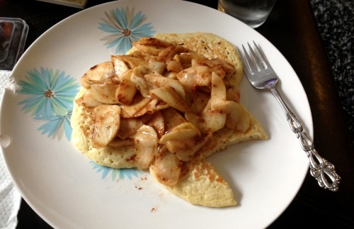 Pancakes with sauteed apples with maple syrup and pumpkin pie spice